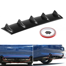 Universal Car Lower Rear Bumper Difusor de labios Spoiler 5 Fin ABS Car Back Bumper Lip Deflector Splitter